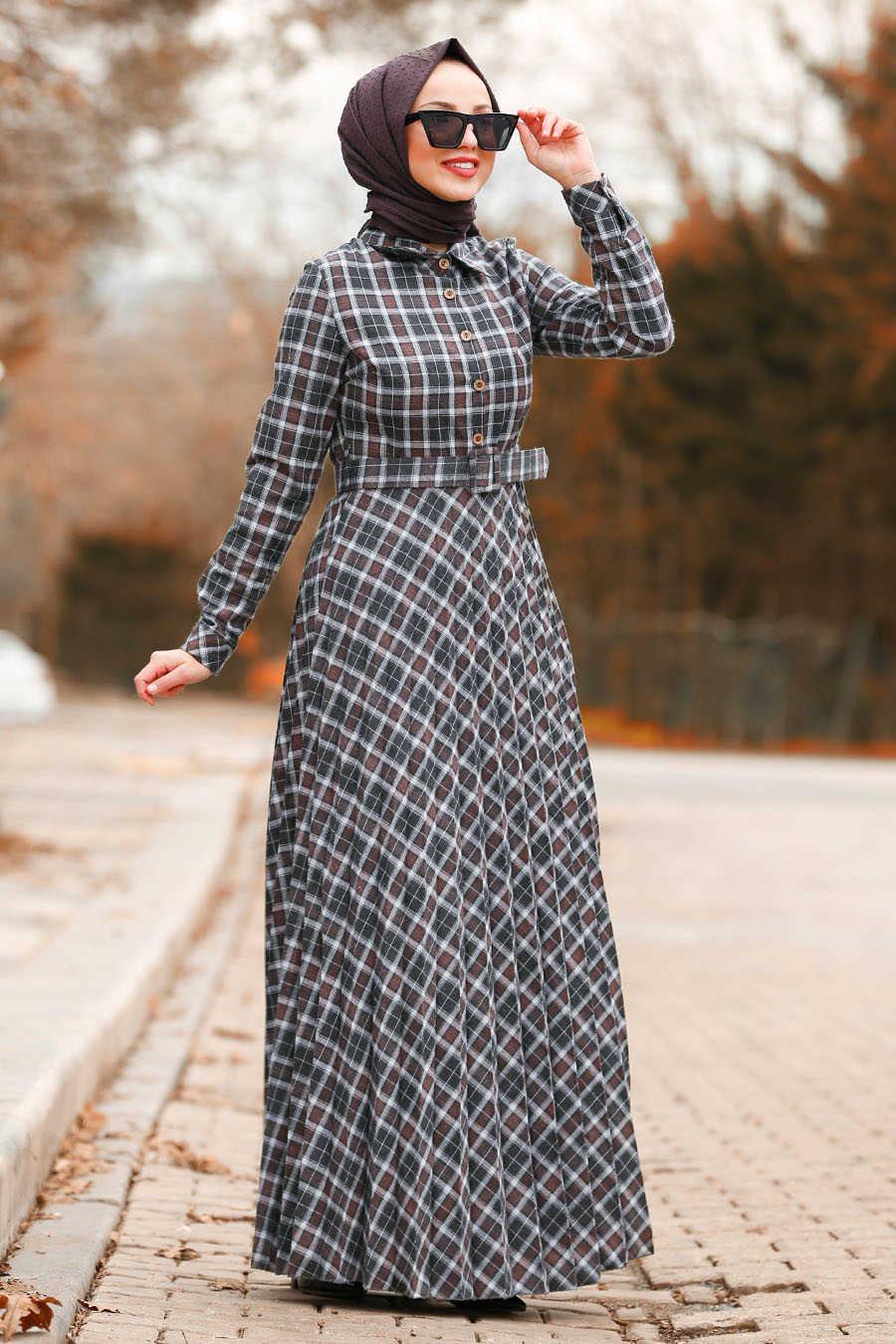 Neva Style - Brown Hijab Dress 83740KH