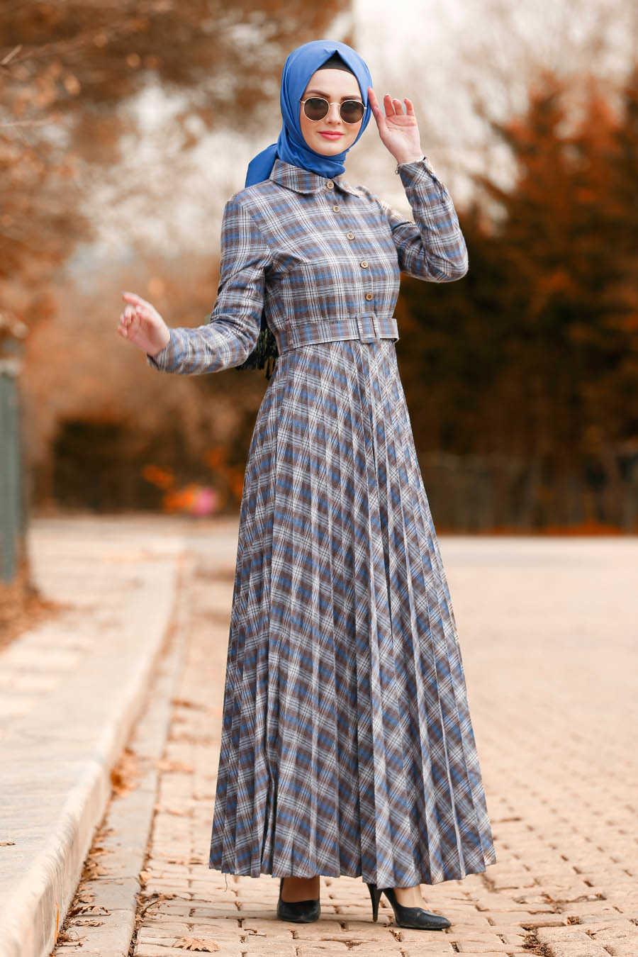 Neva Style - Brown Hijab Dress 83741KH