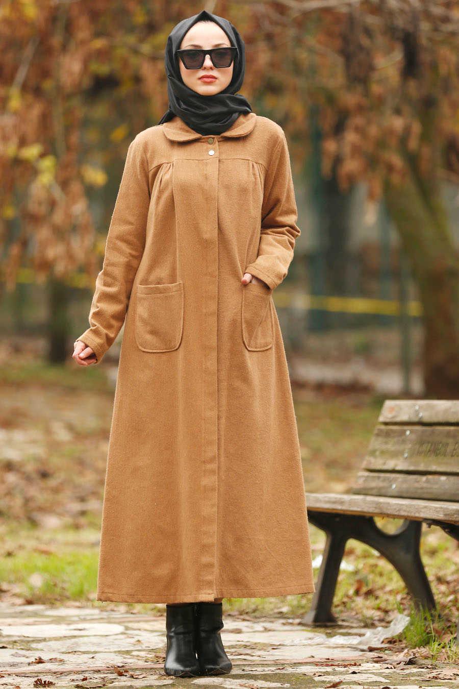 Neva Style - Camel Hijab Coat 2445C