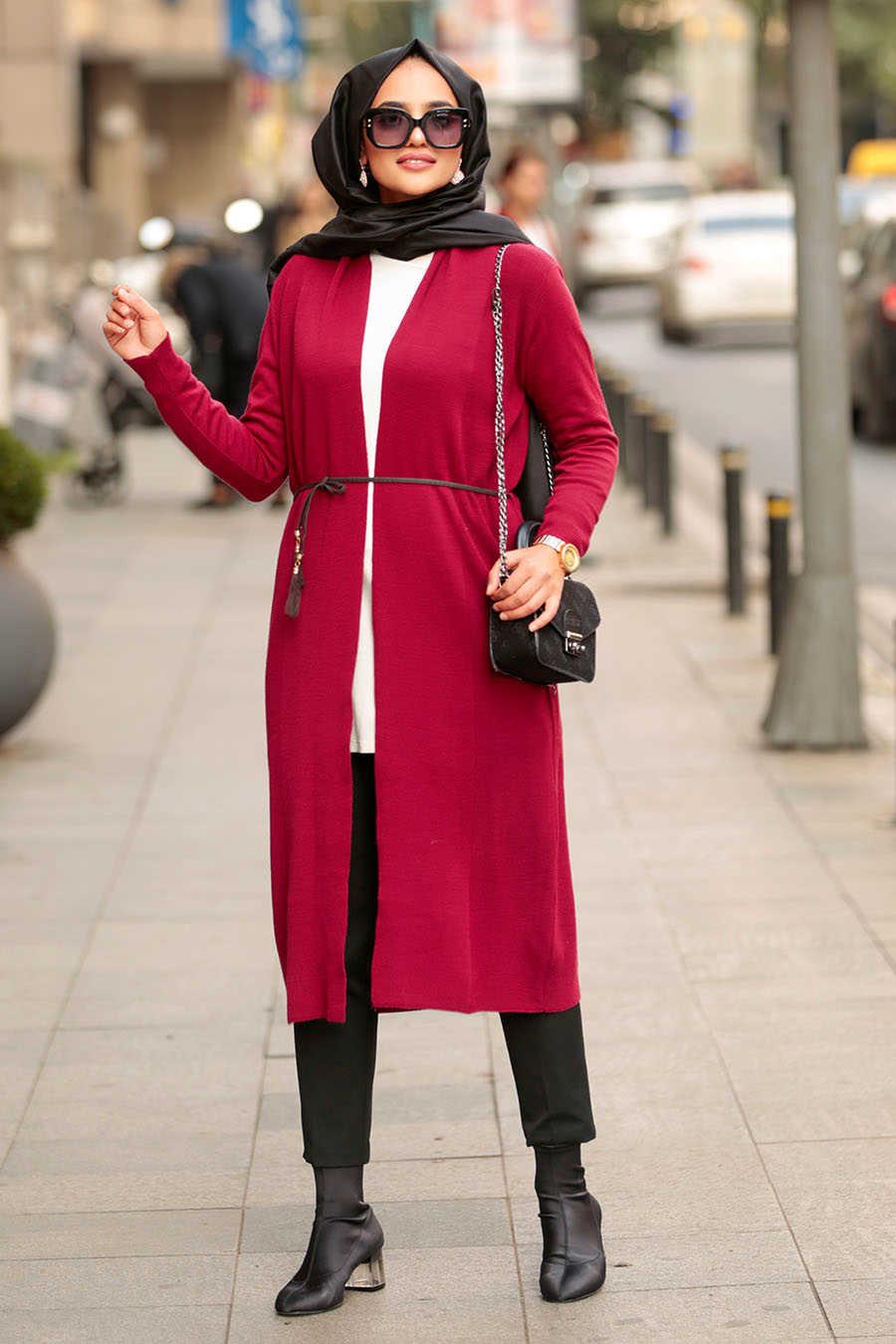 Neva Style - Claret Red Hijab Cardigan 15426BR