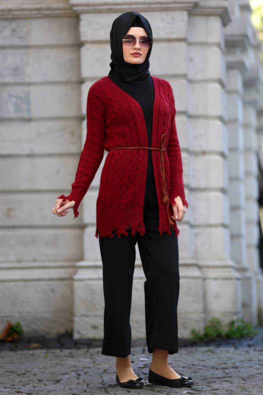 Neva Style - Claret Red Hijab Cardigan 41390BR