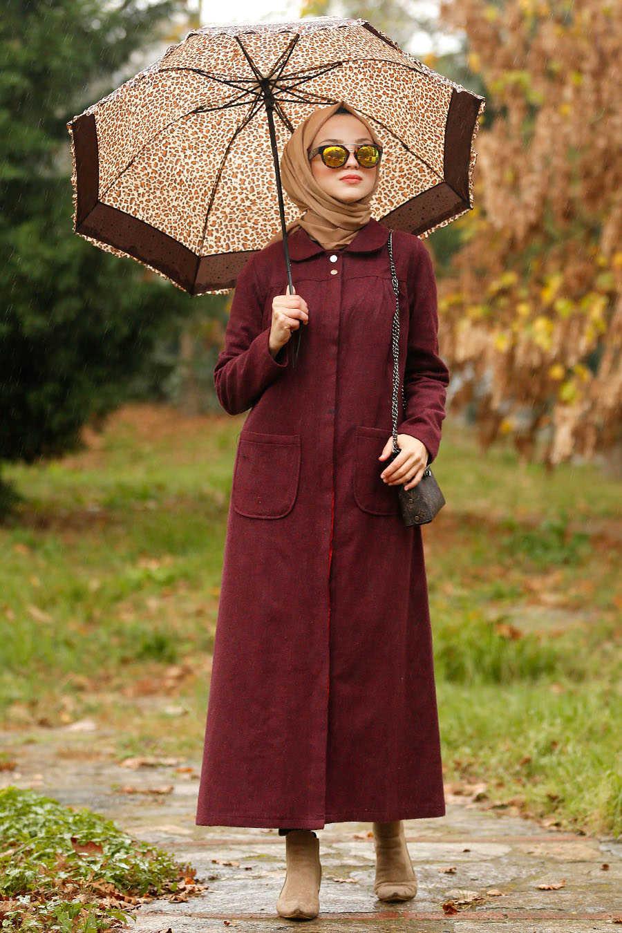Neva Style - Claret Red Hijab Coat 2445BR