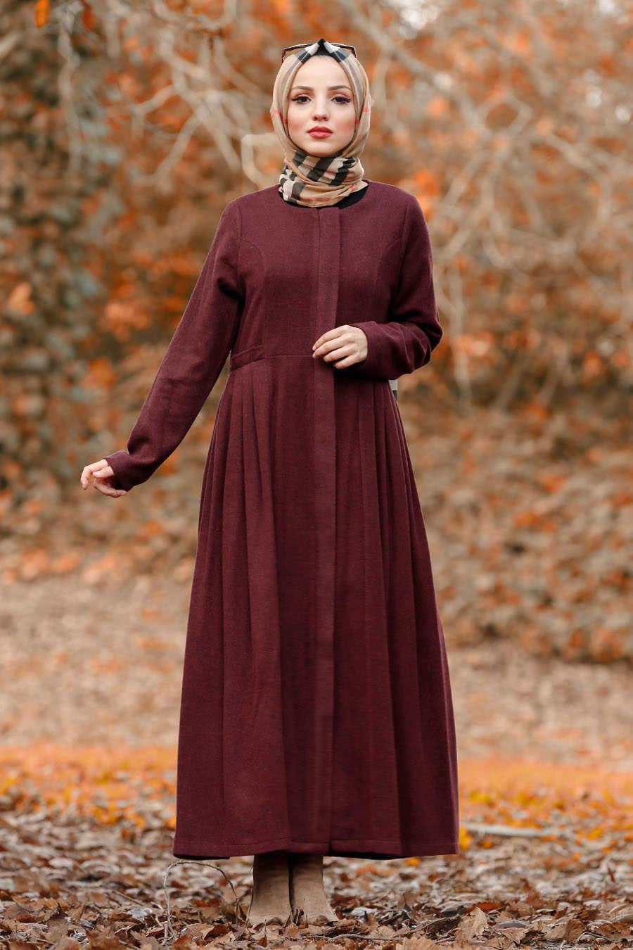 Neva Style - Claret Red Hijab Coat 2446BR