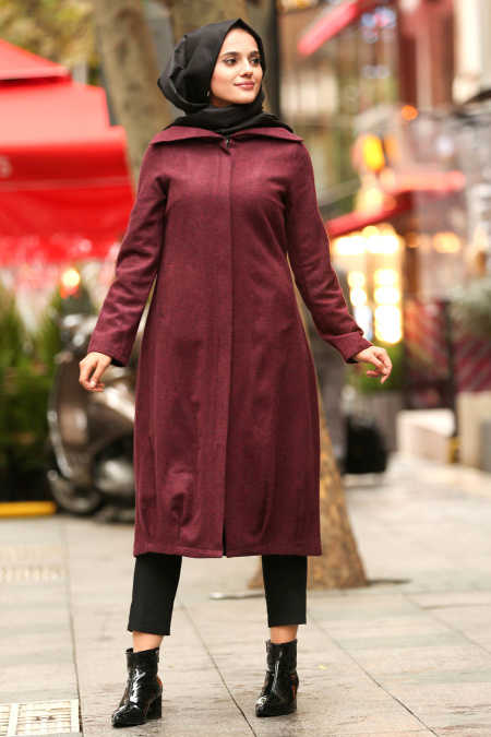 Neva Style - Claret Red Hijab Coat 2453BR