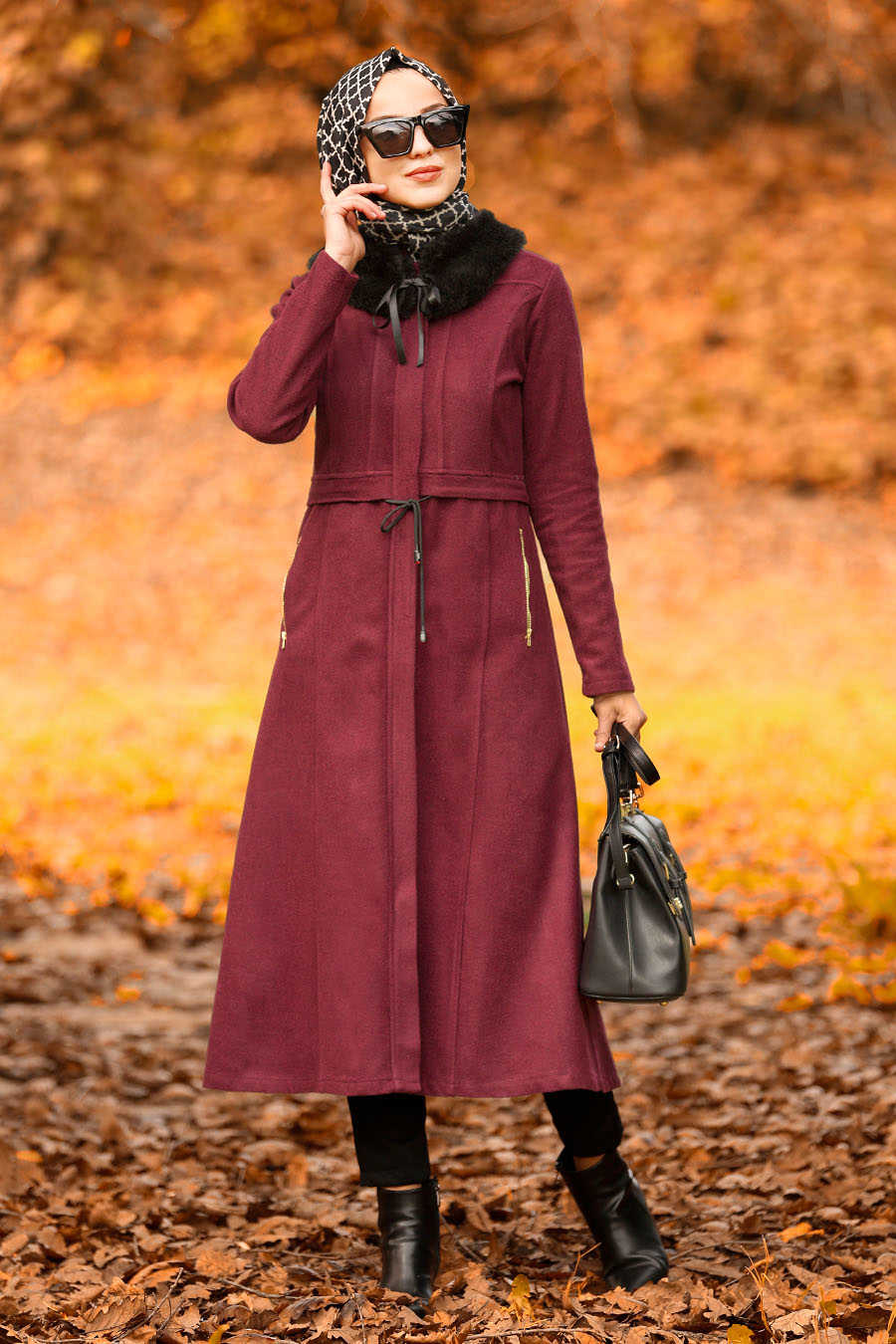 Neva Style - Claret Red Hijab Coat 40261BR