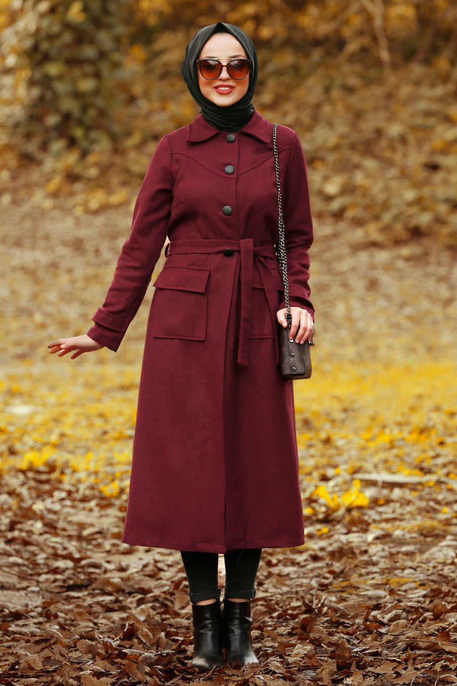 Neva Style - Claret Red Hijab Coat 4418BR