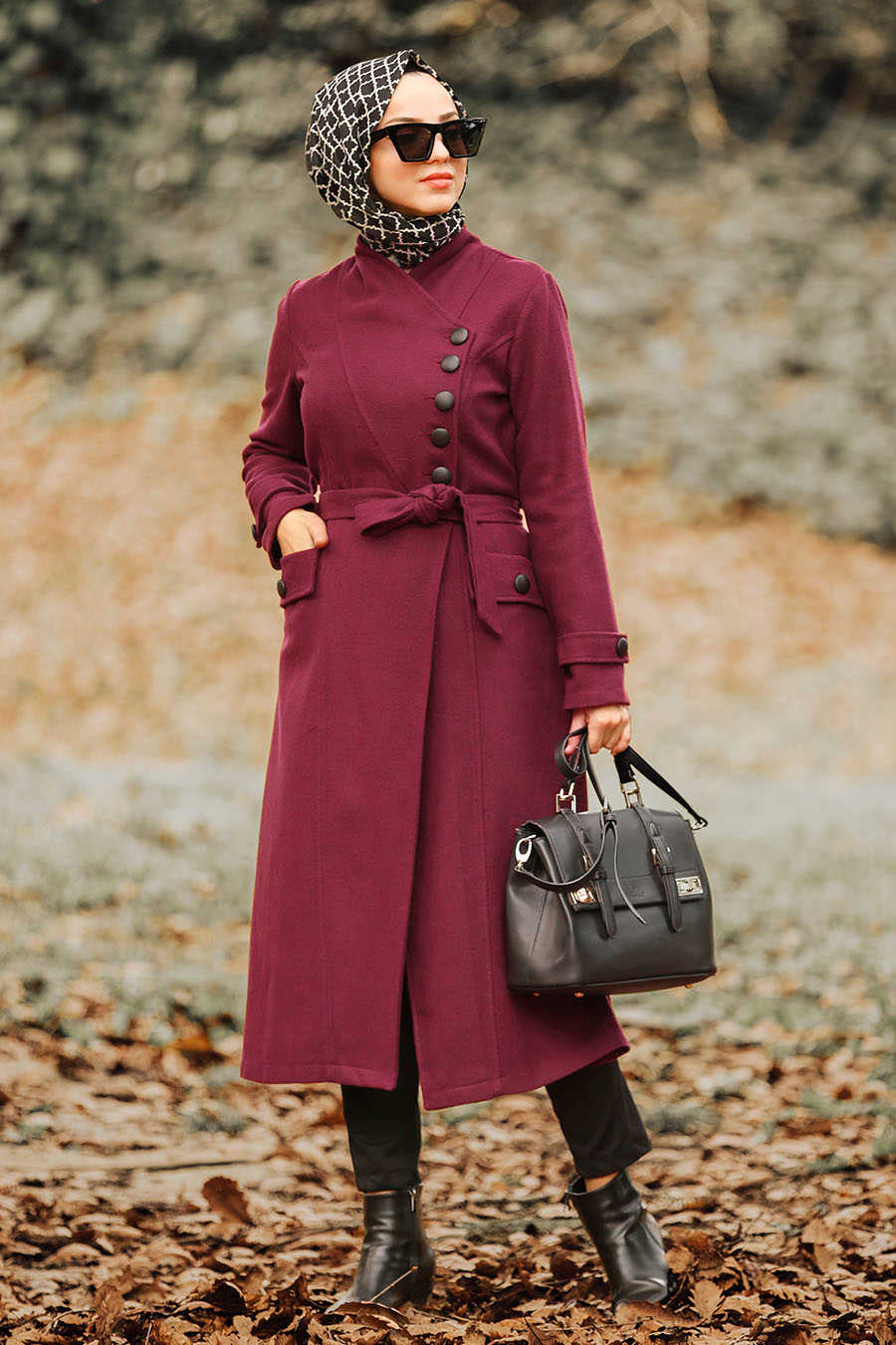 Neva Style - Claret Red Hijab Coat 4420BR