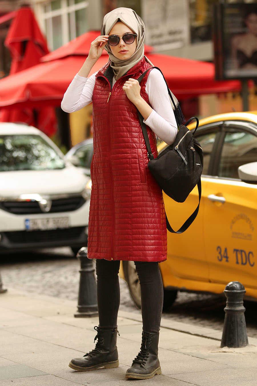 Neva Style - Claret Red Hijab Coat 5001BR