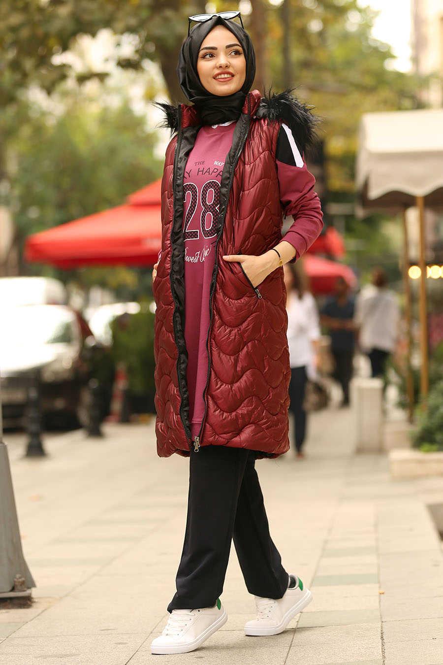 Neva Style - Claret Red Hijab Coat 5005BR