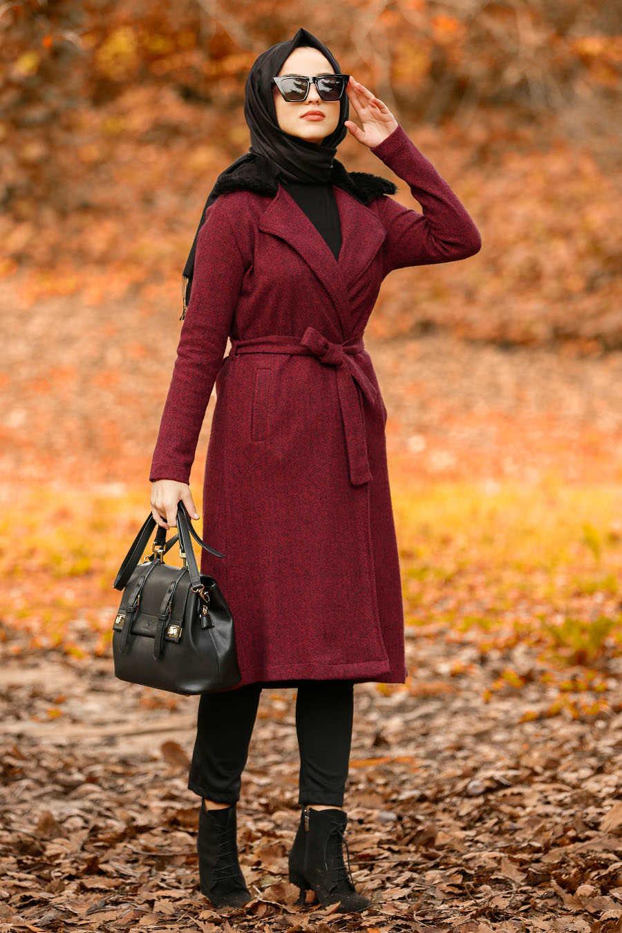 Neva Style - Claret Red Hijab Coat 5416BR