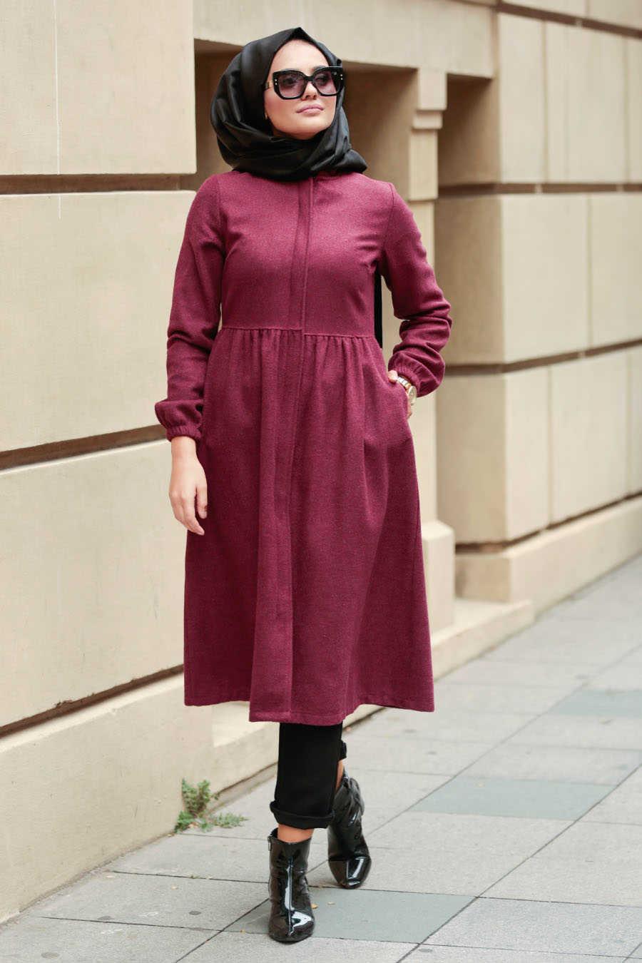 Neva Style - Claret Red Hijab Coat 9081BR
