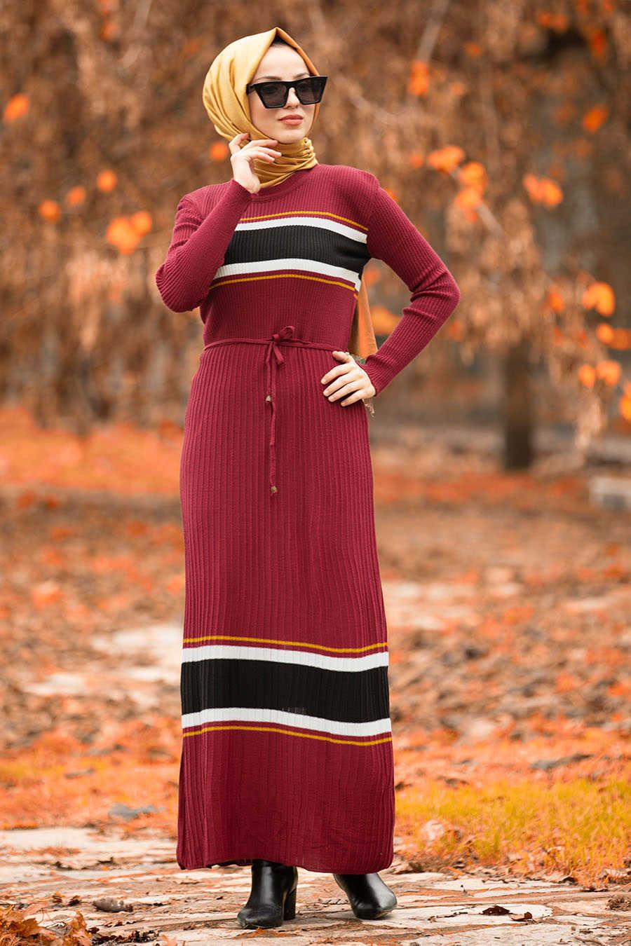 Neva Style - Claret Red Hijab Dress 15583BR