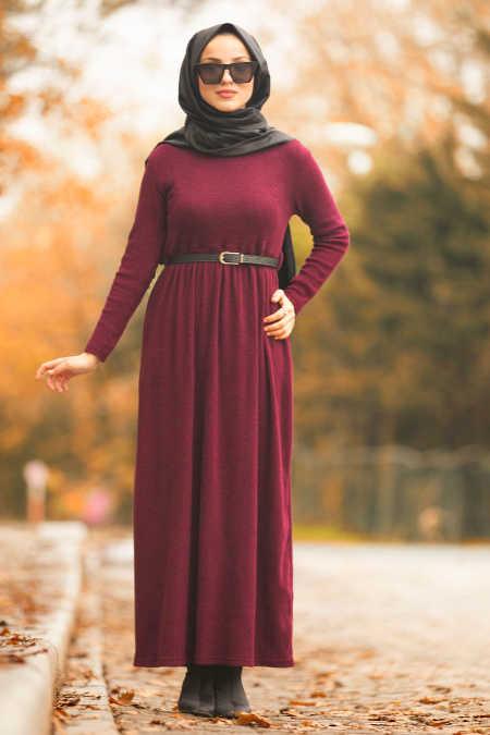 Neva Style - Claret Red Hijab Dress 1603BR