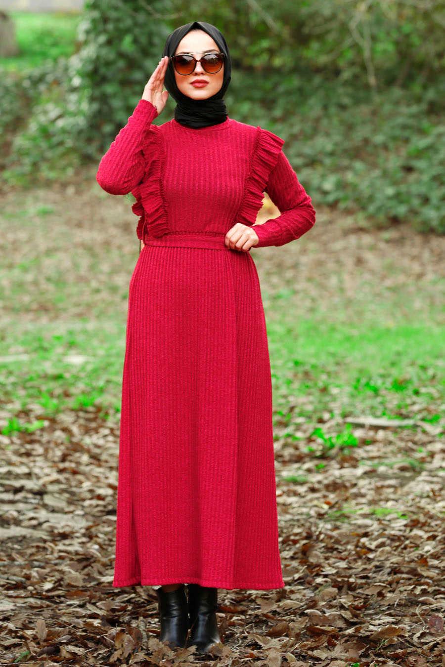 Neva Style - Claret Red Hijab Dress 4032BR