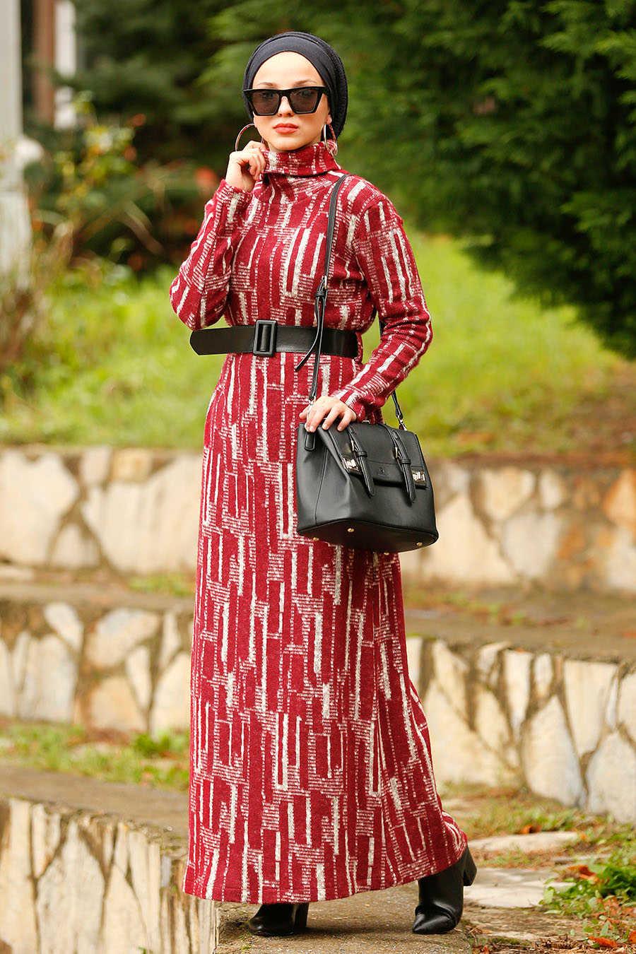 Neva Style - Claret Red Hijab Dress 4248BR