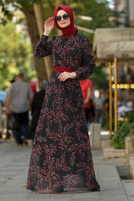 Neva Style - Claret Red Hijab Dress 81525BR