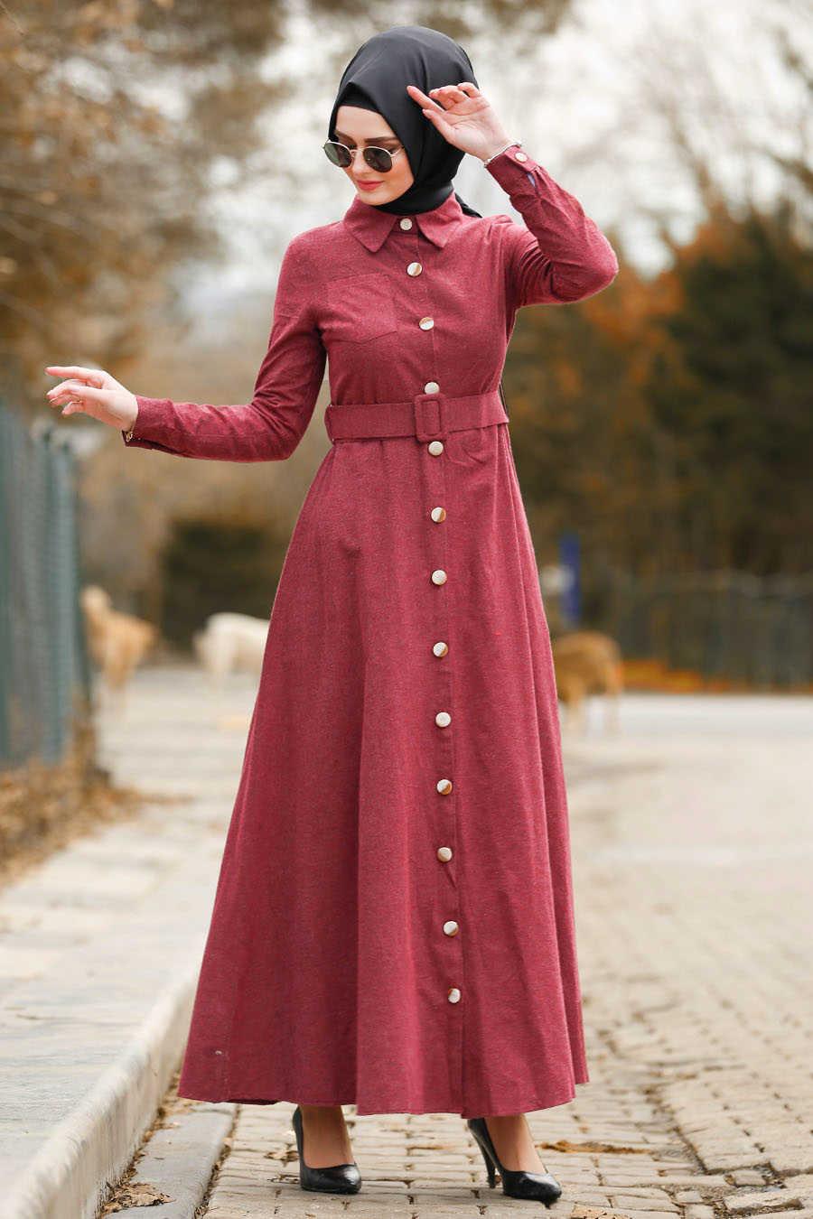 Neva Style - Claret Red Hijab Dress 8409BR