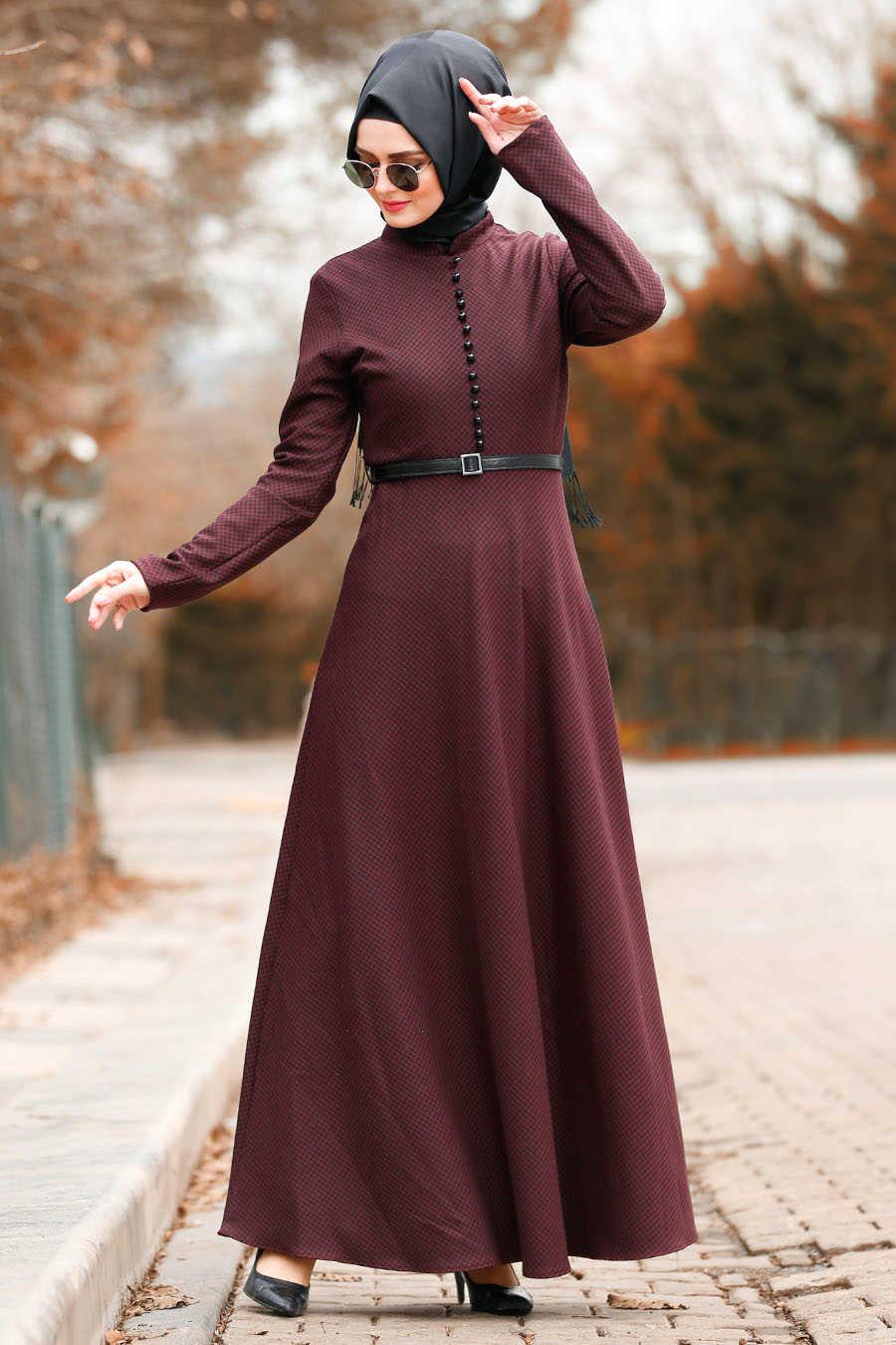 Neva Style - Claret Red Hijab Dress 8440BR