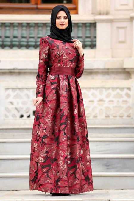 Neva Style - Claret Red Hijab Evening Dress 82459BR