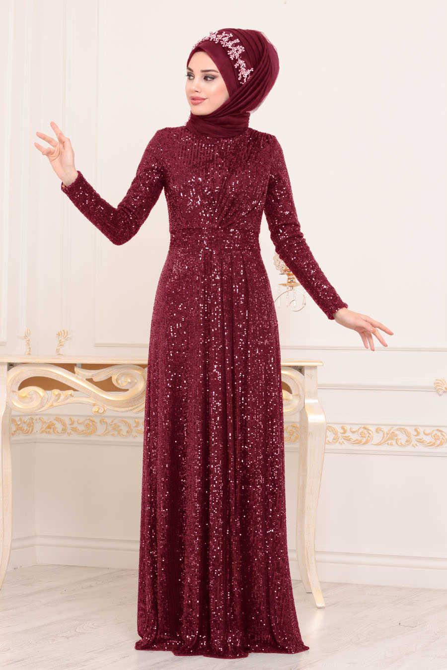 Neva Style - Claret Red Hijab Evening Dress 9106BR