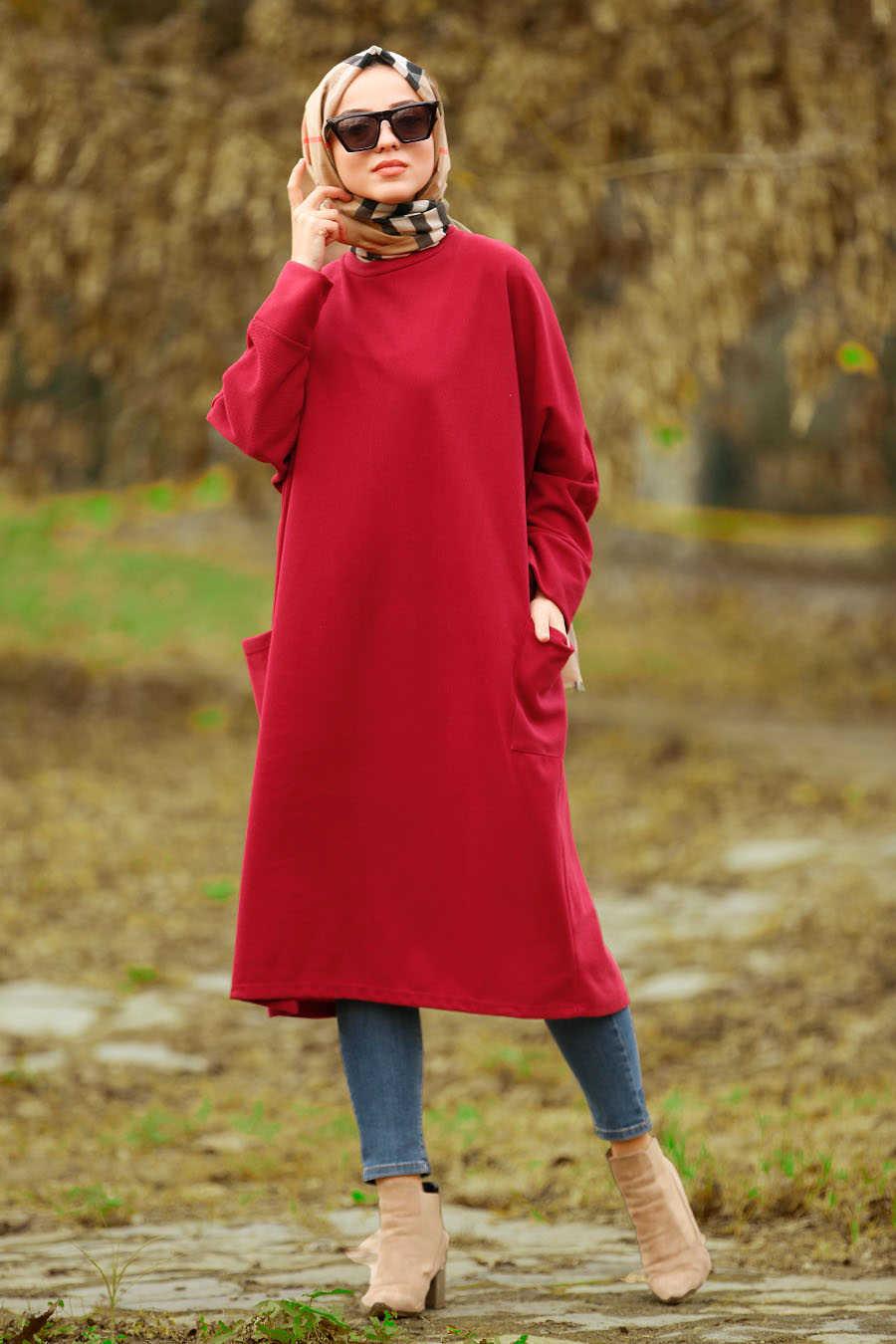 Neva Style - Claret Red Hijab Tunic 40301BR