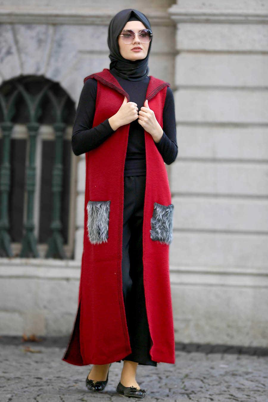 Neva Style - Claret Red Hijab Vest 61160BR