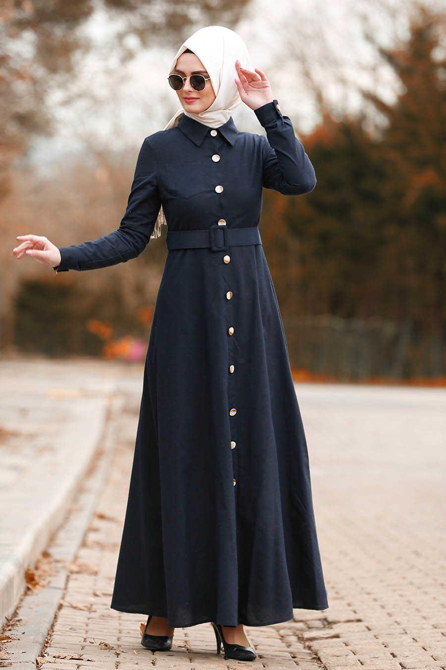 Neva Style - Dark Navy Blue Hijab Dress 8409KL