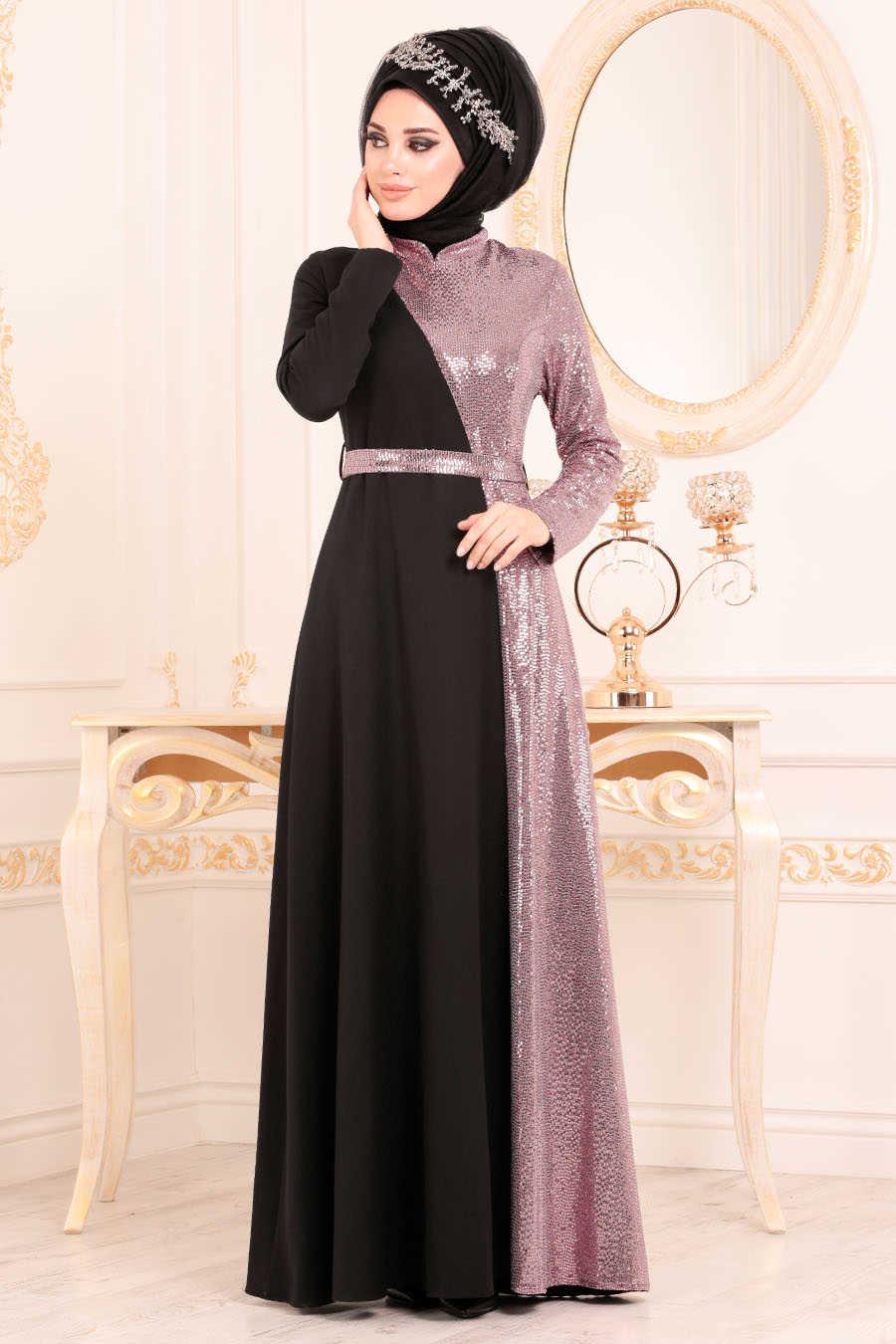 Neva Style - Dusty Rose Hijab Evening Dress 1234GK