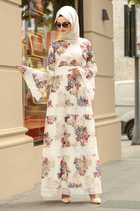 Neva Style - Ecru Hijab Dress 100427E