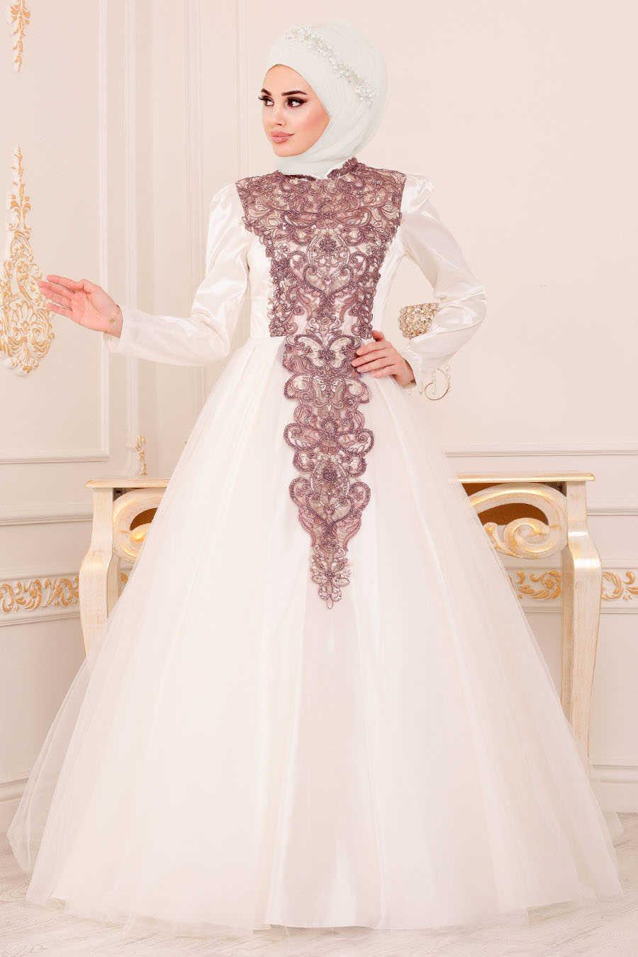 Neva Style - Ecru Hijab Evening Dress 192501E