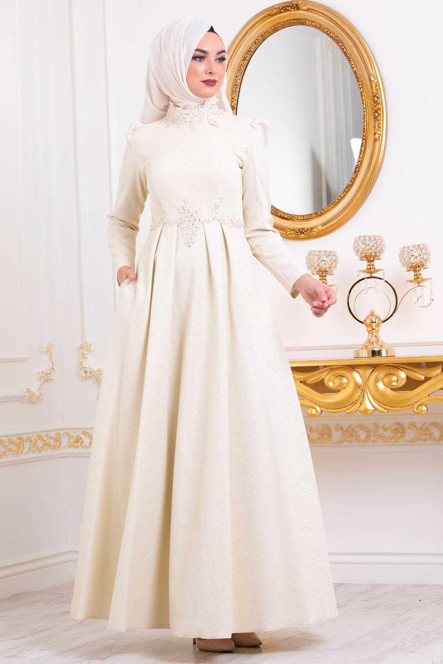Neva Style - Ecru Hijab Evening Dress 36550E
