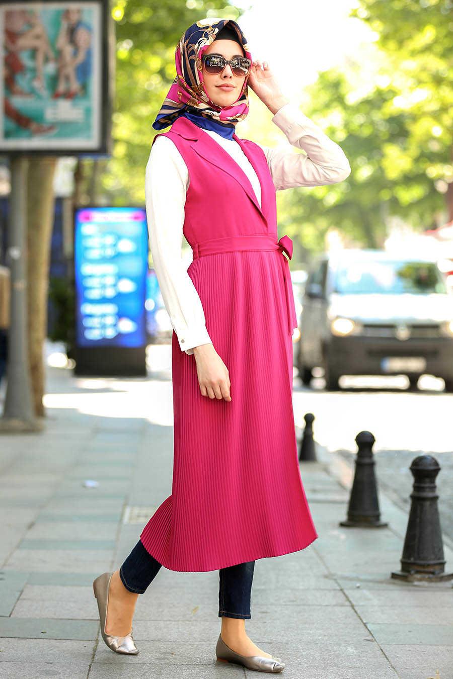 Neva Style - Fuchsia Hijab Vest 4969F