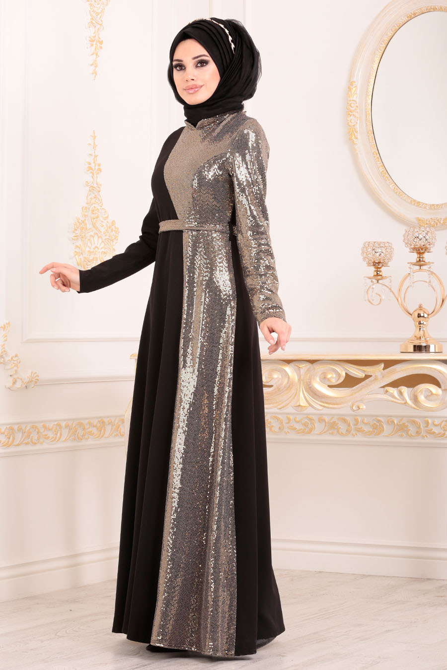 Neva Style - Gold Hijab Evening Dress 1234GOLD