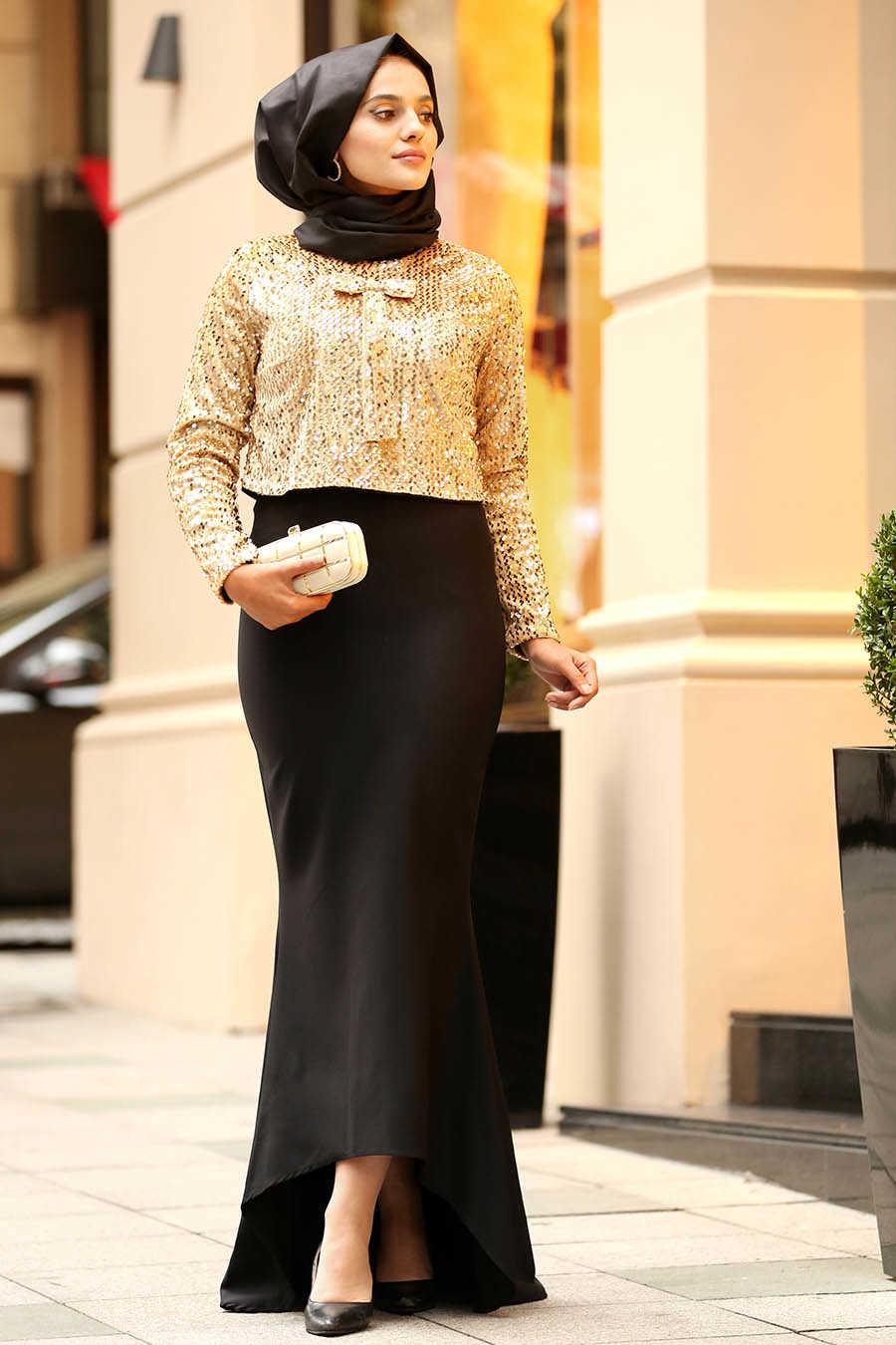 Neva Style - Gold Hijab Evening Dress 18911GOLD