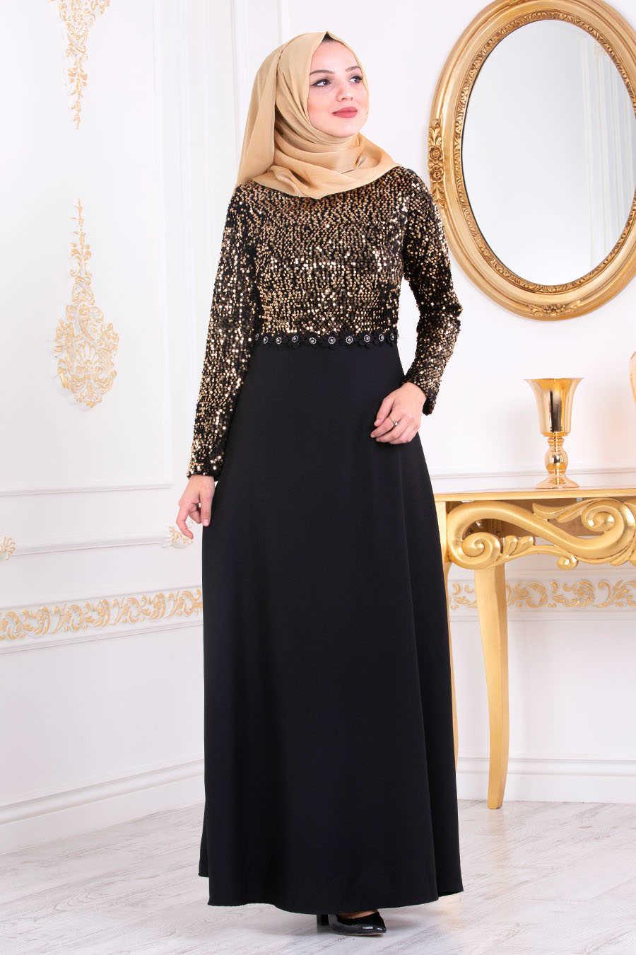 Neva Style - Gold Hijab Evening Dress 3052GOLD