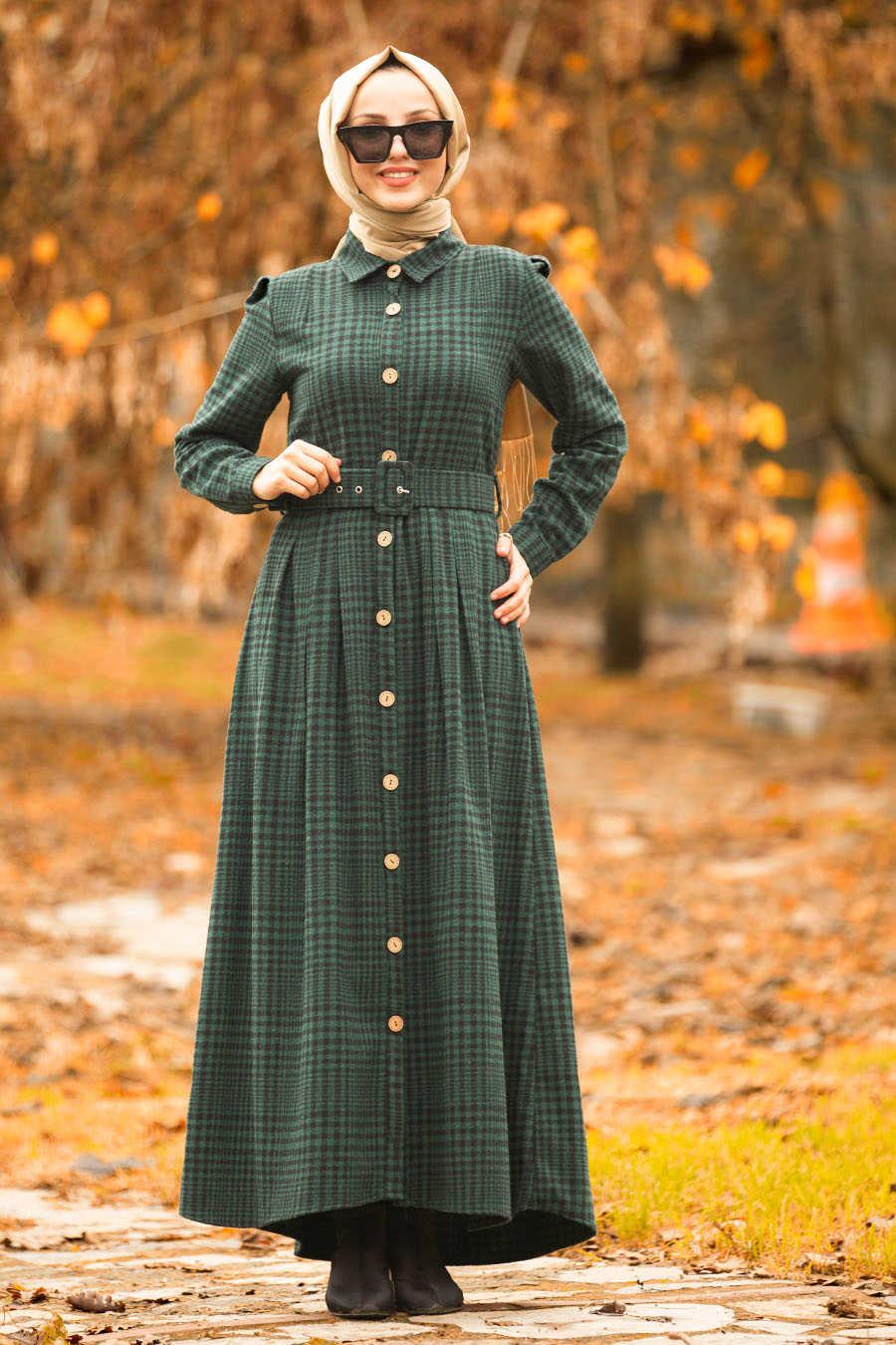 Neva Style - Green Hijab Dress 1593Y