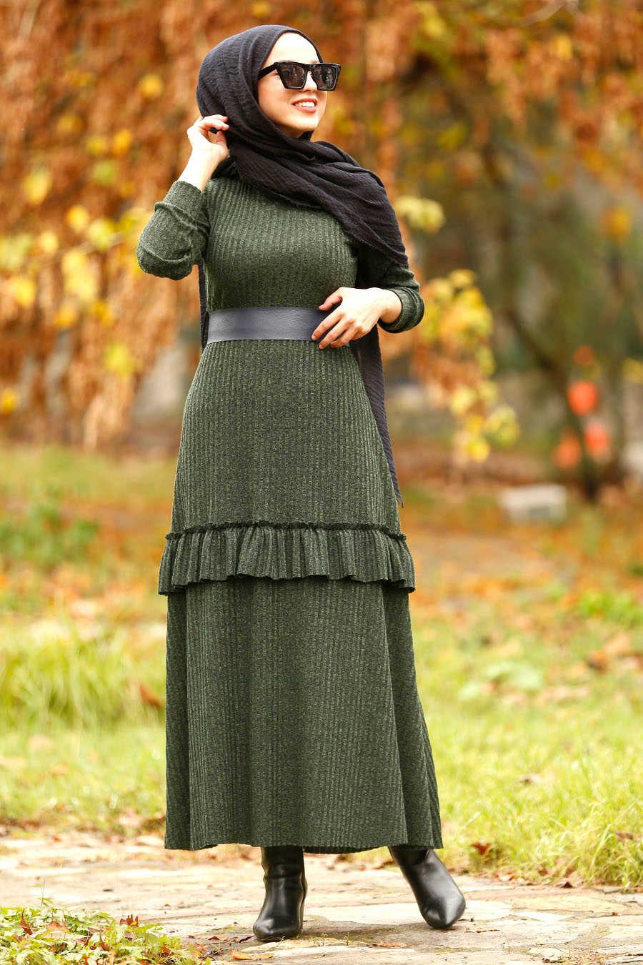 Neva Style - Green Hijab Dress 4021Y