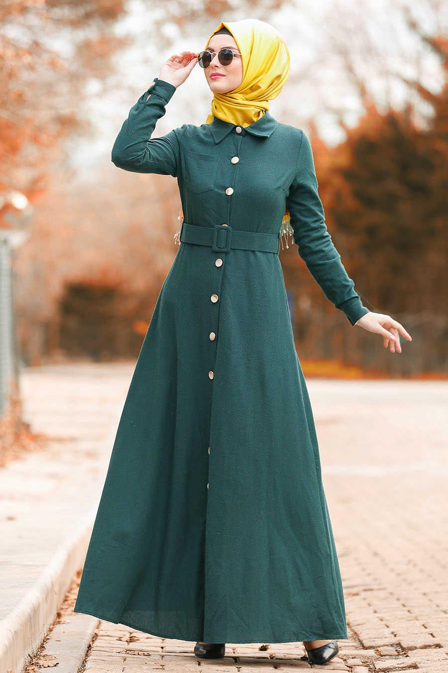Neva Style - Green Hijab Dress 8409Y