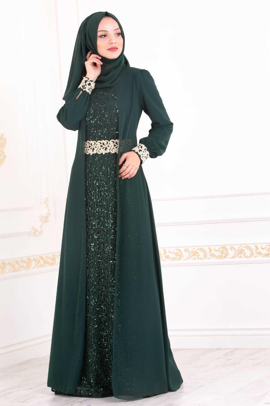 Neva Style - Green Hijab Evening Dress 25717Y
