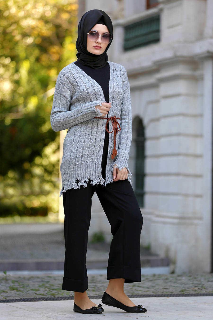 Neva Style - Grey Hijab Cardigan 41390GR
