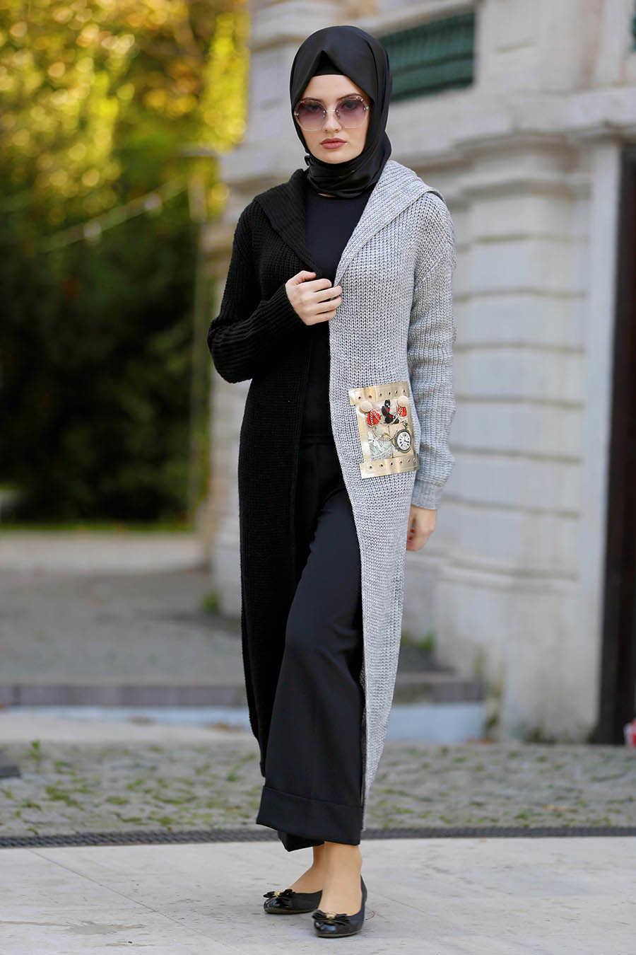 Neva Style - Grey Hijab Cardigan 42720GR