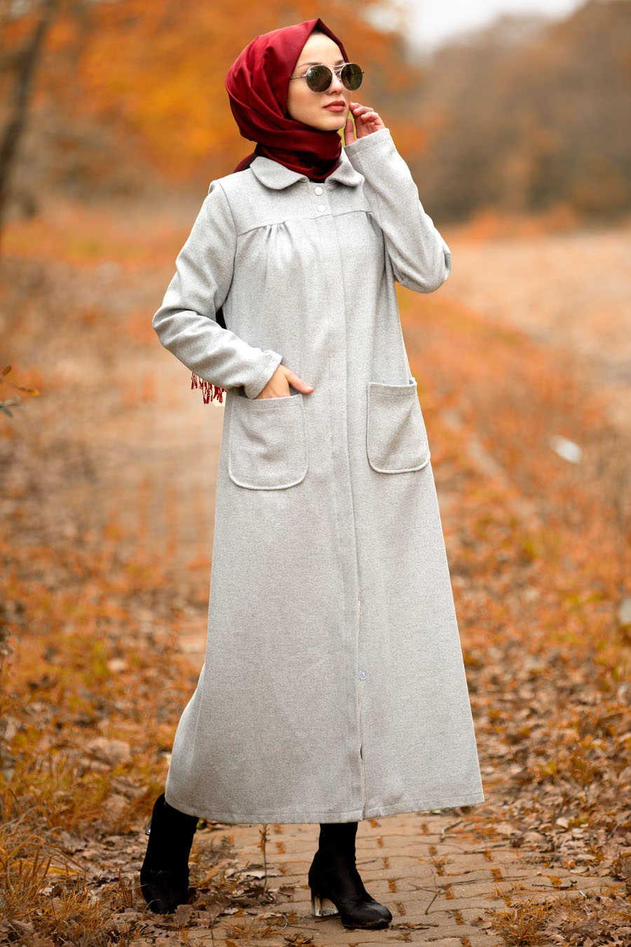 Neva Style - Grey Hijab Coat 2445GR