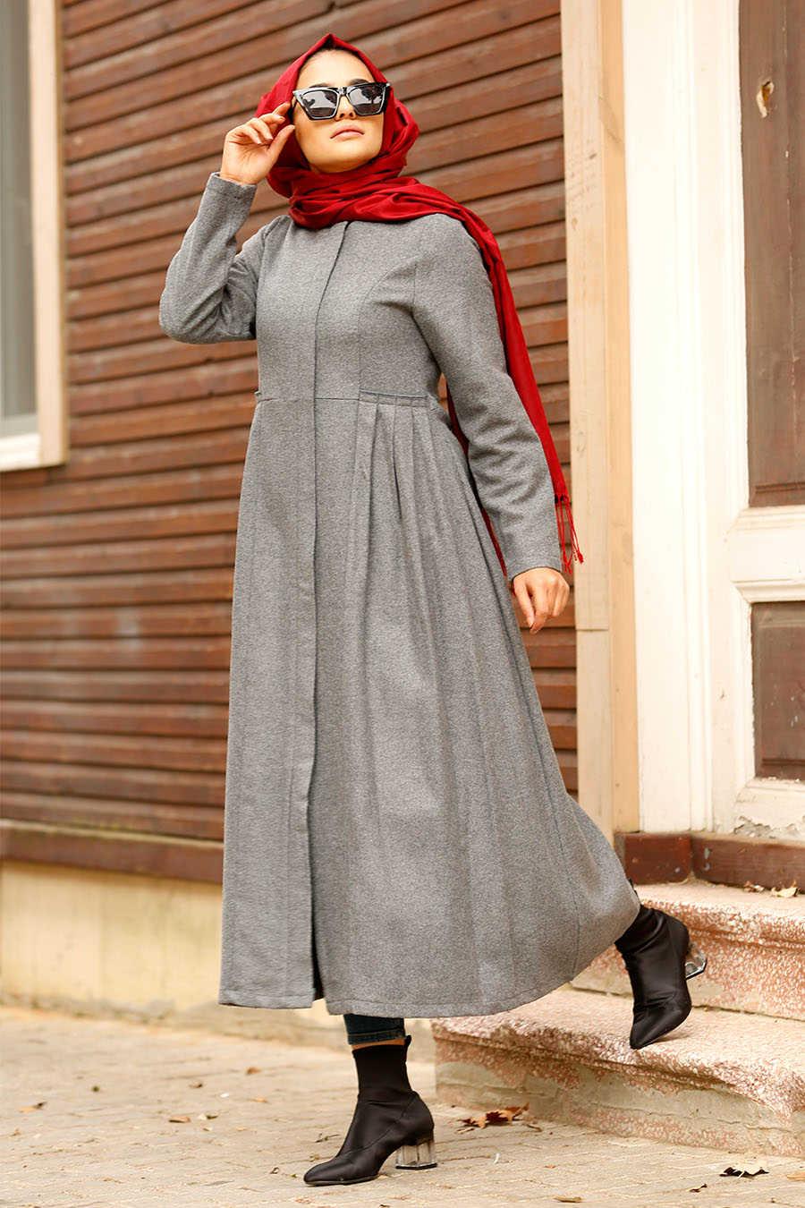Neva Style - Grey Hijab Coat 2446GR