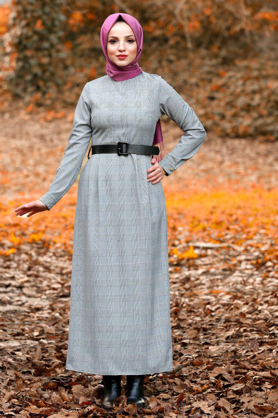 Neva Style - Grey Hijab Dress 41231GR