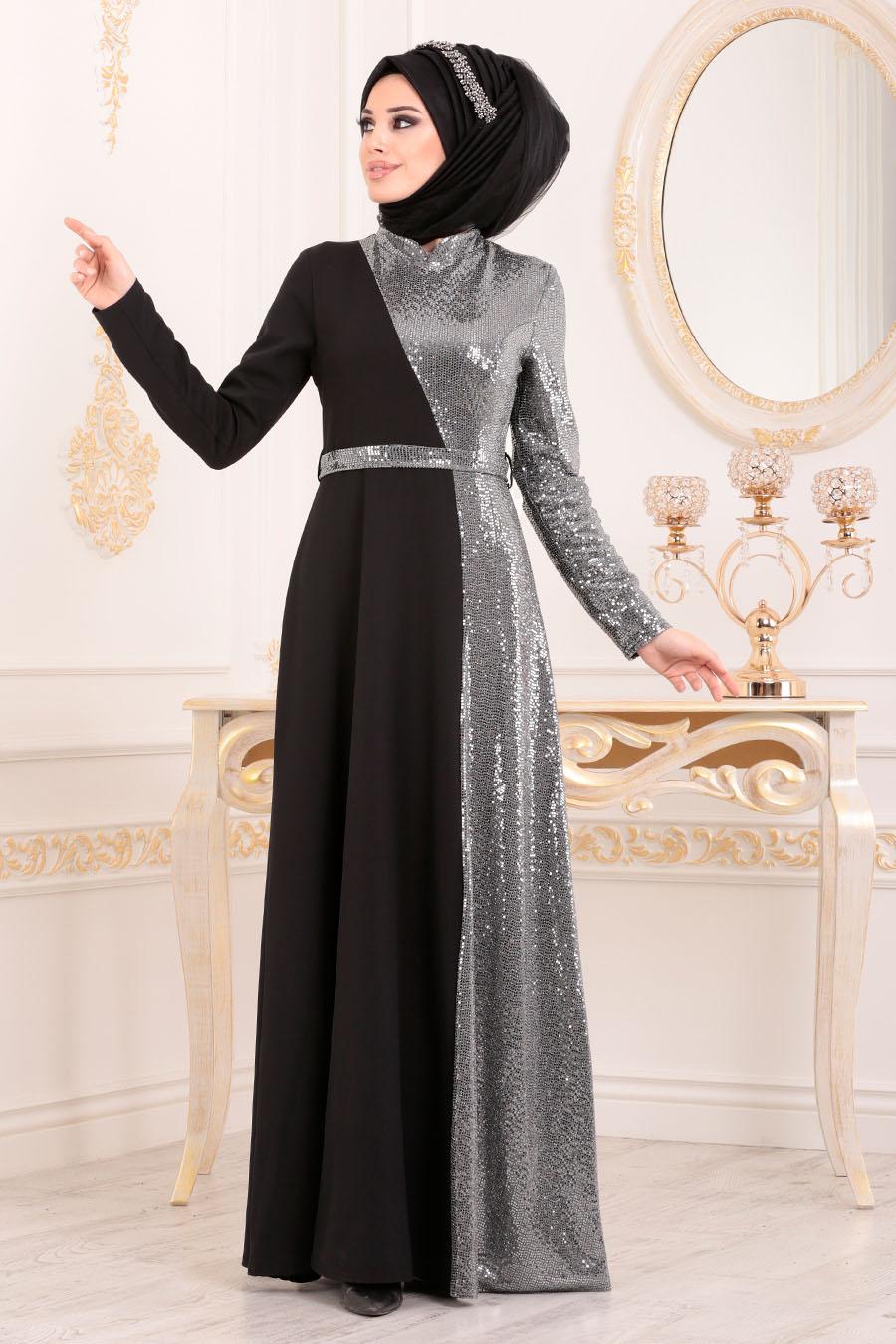Neva Style - Grey Hijab Evening Dress 1234GR