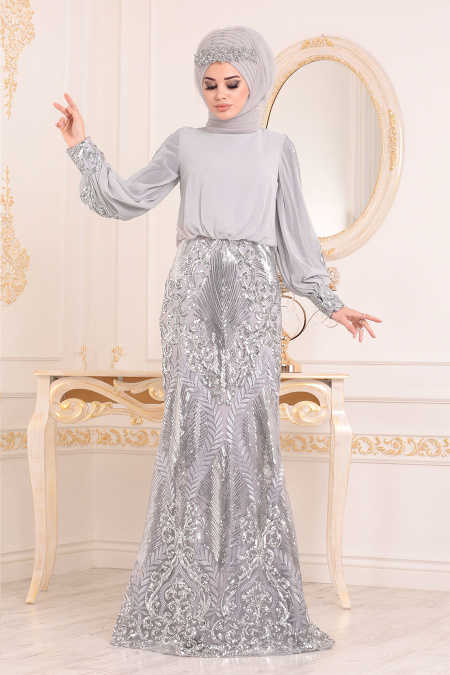 Neva Style - Grey Hijab Evening Dress 45820GR