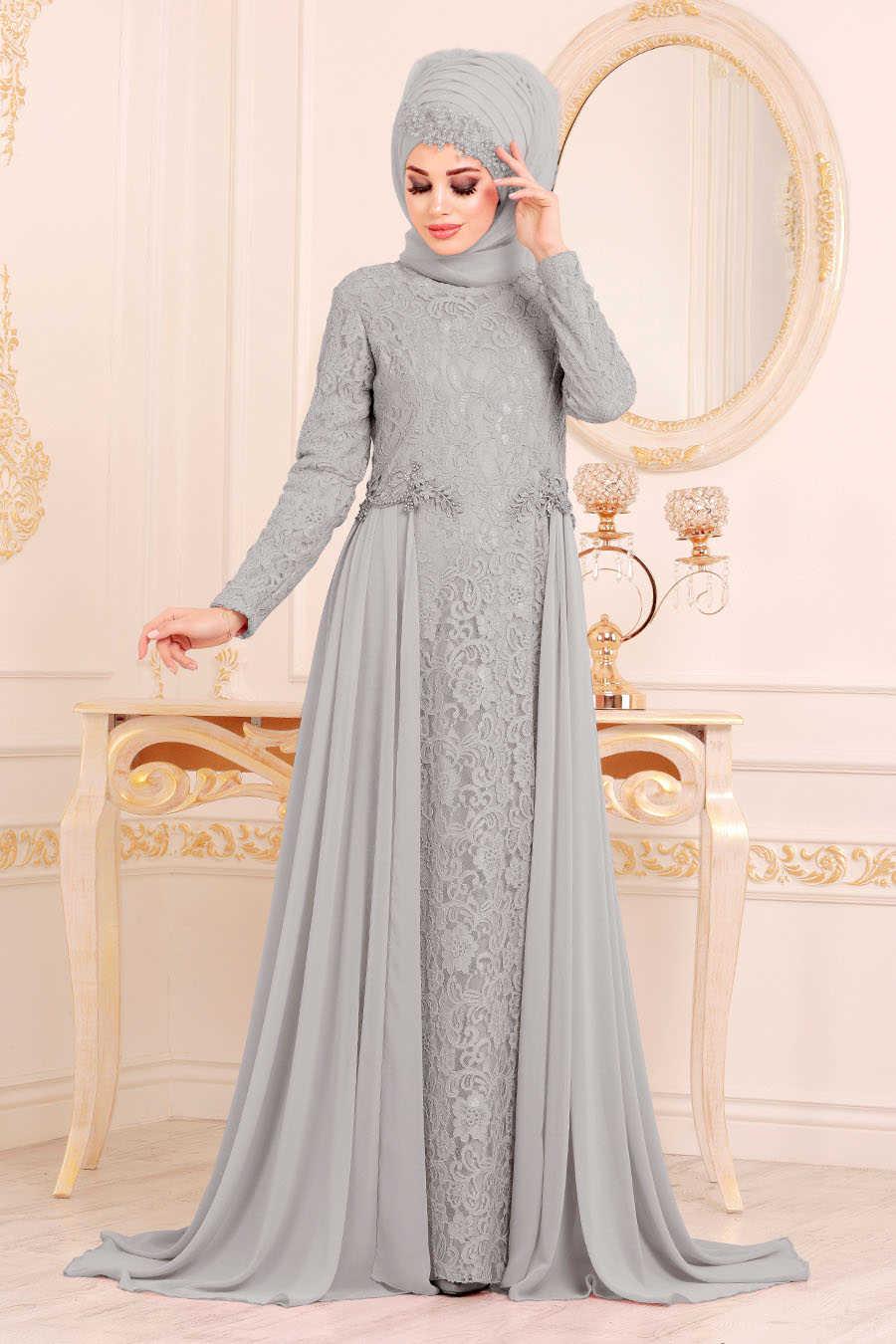 Neva Style - Grey Hijab Evening Dress 9105GR