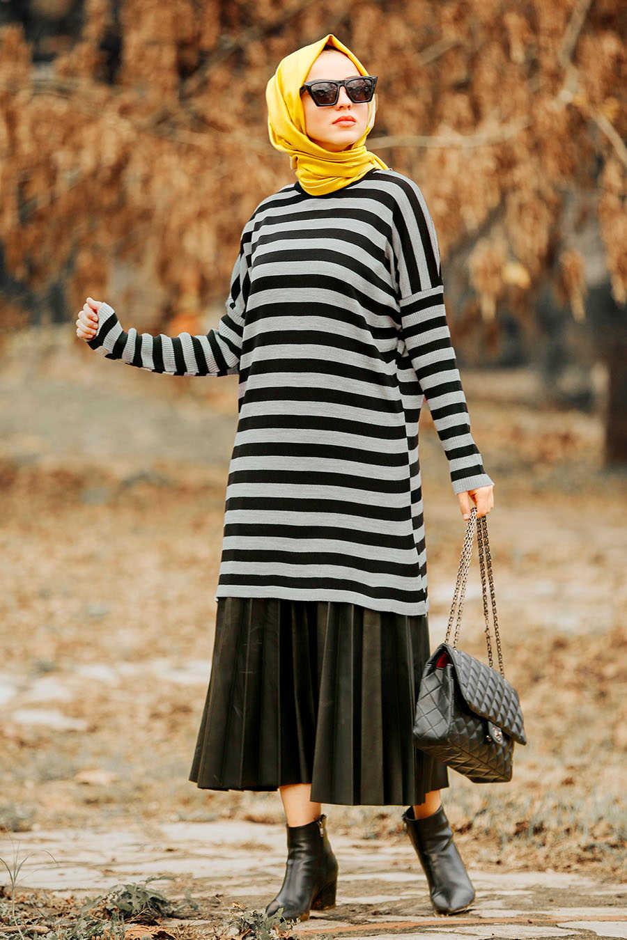 Neva Style - Grey Hijab Knit Wear 21061GR
