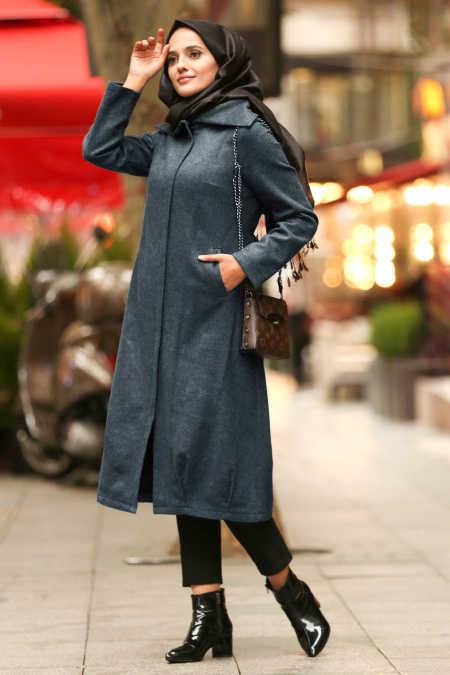 Neva Style - Indigo Blue Hijab Coat 2453IM