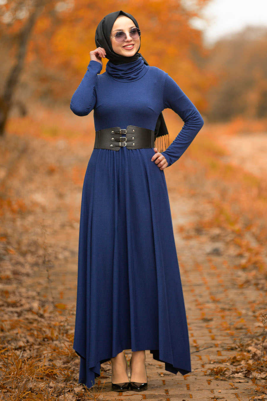 Neva Style - Indigo Blue Hijab Dress 3190IM
